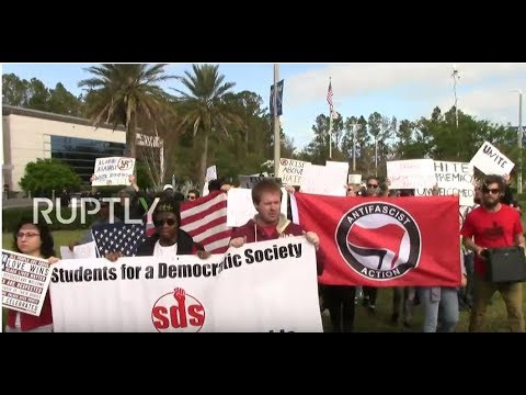 LIVE: Protesters against white nationalists student suspended in Jacksonville, FL