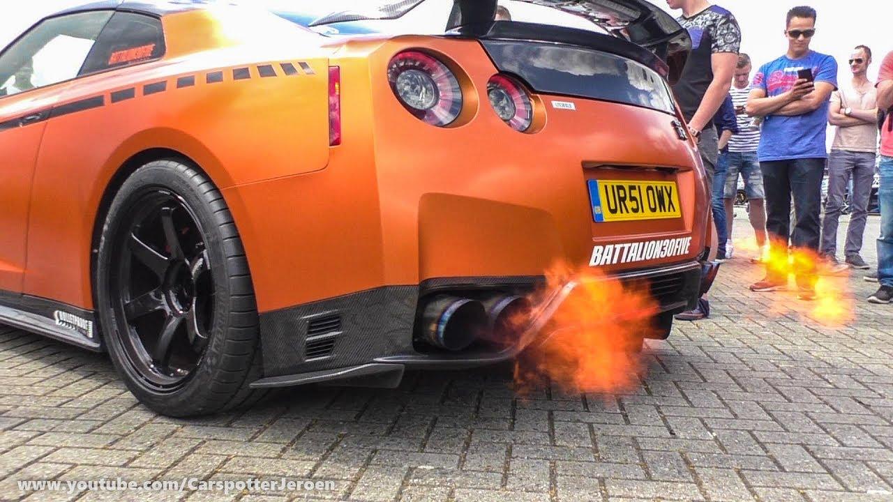 litchfield nissan gt r r35 w boost logic titanium exhaust spitting flame