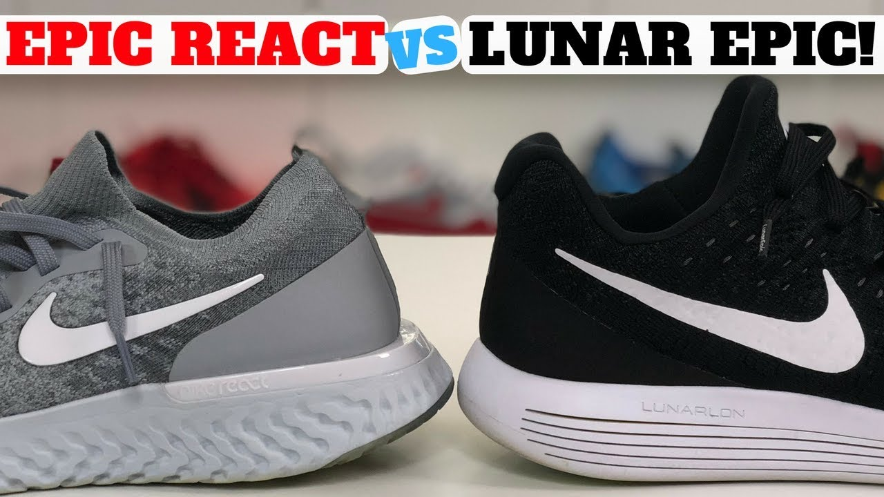 c34906d65a2 WHICH IS BETTER  Nike EPIC REACT Flyknit vs LUNAR EPIC Flyknit 2 Low ...