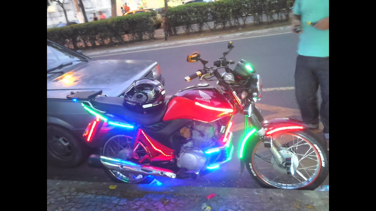 Eclairage Led Moto Moto Led Cg 150 Esi Personalizada Com Led Youtube