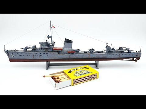 Polish Destroyer ORP Grom Plastic model ship build video