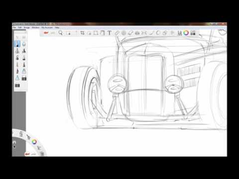 Quick Sketch Time Lapse Of A Hot Rod Roadster
