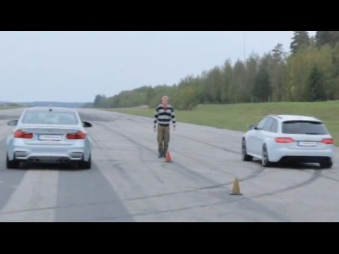 Standing start BMW M3 F80 vs Audi RS4 Avant to top speed limiter