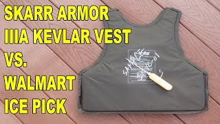 Skarr Armor IIIA Kevlar Vest vs. Ice Pick