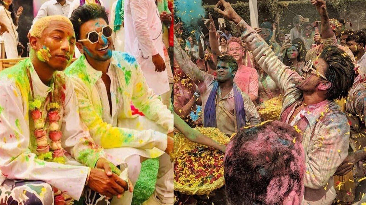 7040fba7f7ad2 Ranveer Singh celebrates Holi with Pharrell Williams - YouTube
