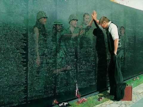 Photos of the Vietnam War and the Vietnam Memorial.
