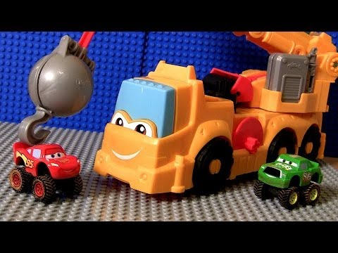 Thumbnail: Play Doh Cars Buster Power Crane Wrecking Ball Diggin Rigs Monster Truck McQueen Disney Pixar toys