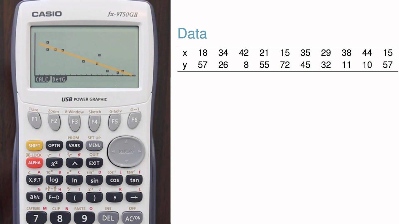 Regression Intercept And Slope Calculation More Casio Fx 9750gii Youtube