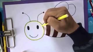Dạy bé vẽ các loài động vật - Dạy bé vẽ con ong - How to draw a bee