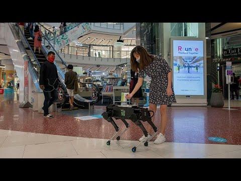 Tayland'da alışveriş merkezlerindeki Covid-19 önlemleri artık robotlara emanet