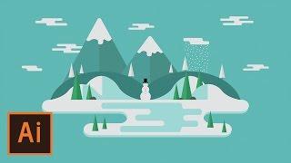 Illustrator Tutorial - Winter Floating Landscape (Illustrator Flat Design for Beginners)