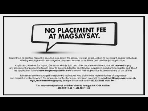 No Placement Fee at Magsaysay