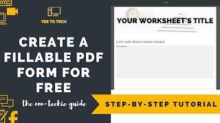 fILLABLE PDF FREE: How To Make PDF Fillable Form Free - Fillable PDF Form Tutorial