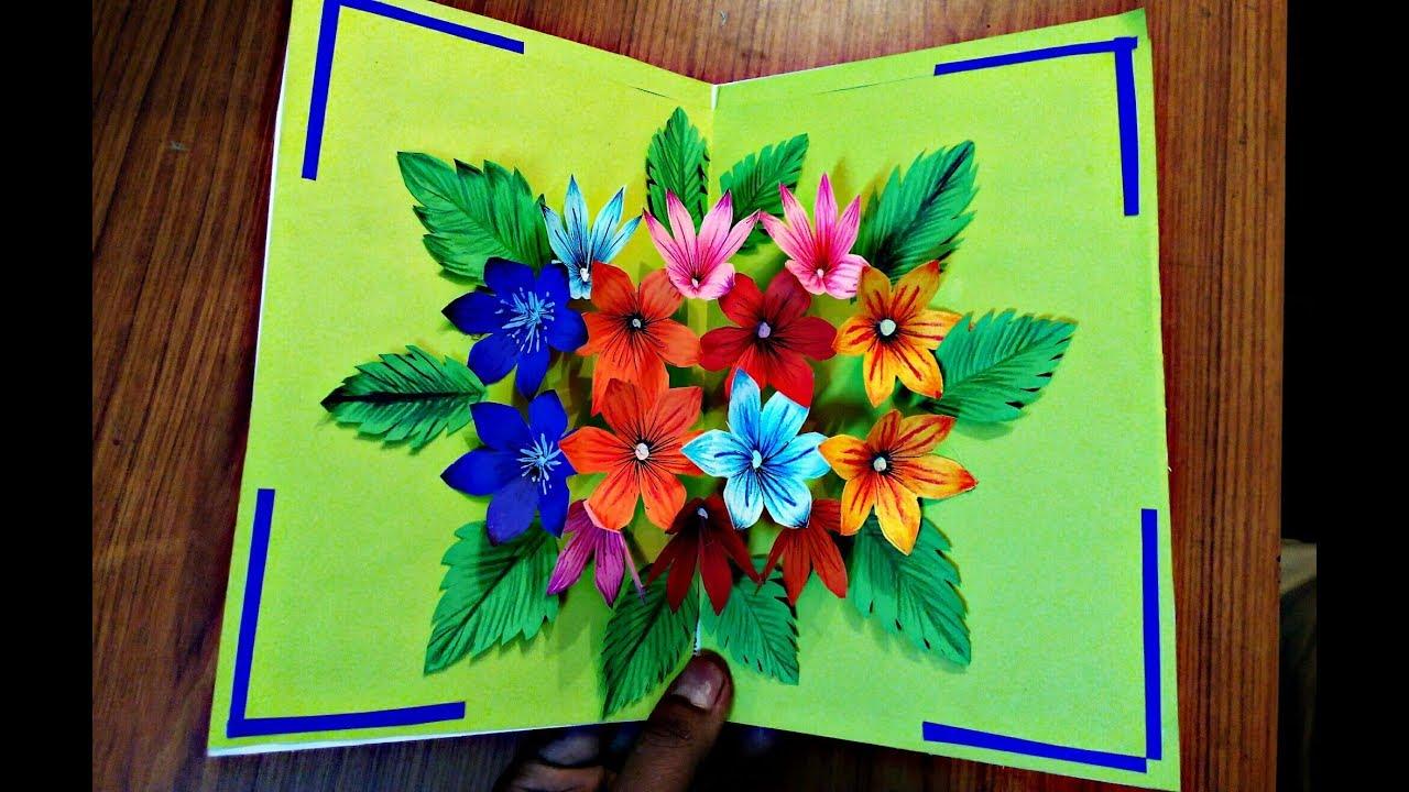 Diy Flower Bouquet Pop Up Card Paper Crafts Handmade Craft Youtube Paper Crafts Diy Diy Pop Up Cards Pop Up Flower Cards