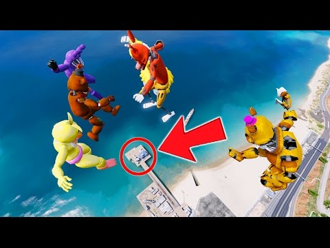 FREDDY & FRIENDS FALL DOWN 9999 FEET! GTA 5 Mods For Kids FNAF Funny Moments RedHatter