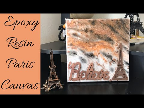 Epoxy Resin Painting Pour and Spray Paint - Paris Art Themed on Canvas