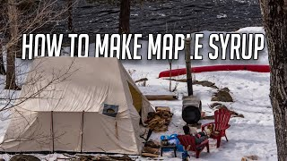 Making Maple Syrup on a Homemade Barrel Stove & Setting Up a Canvas Wall Tent - Life in Rural Canada