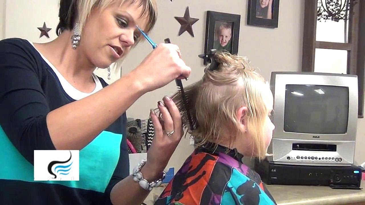 How To Cut A Line Bob Haircut For Little Girls Hairstyles Youtube