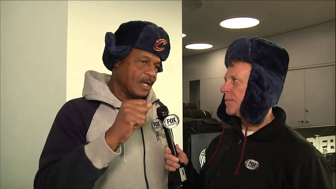 b10182390e3fe Fred McLeod   Austin Carr sport Timofey Mozgov winter hat while previewing  Cavaliers vs. Nets