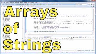 Java Tutorial - 14 - Arrays of Strings