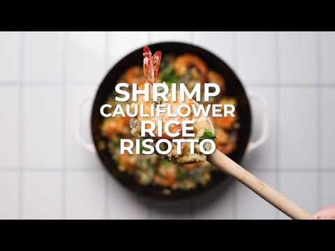 Cauliflower Risotto Shrimp Skillet