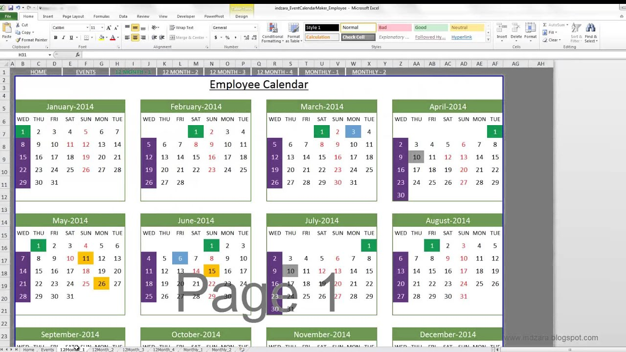 event calendar maker  excel template