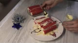 Закуска-избушка из крабовых палочек ( на основе еврейского салата)