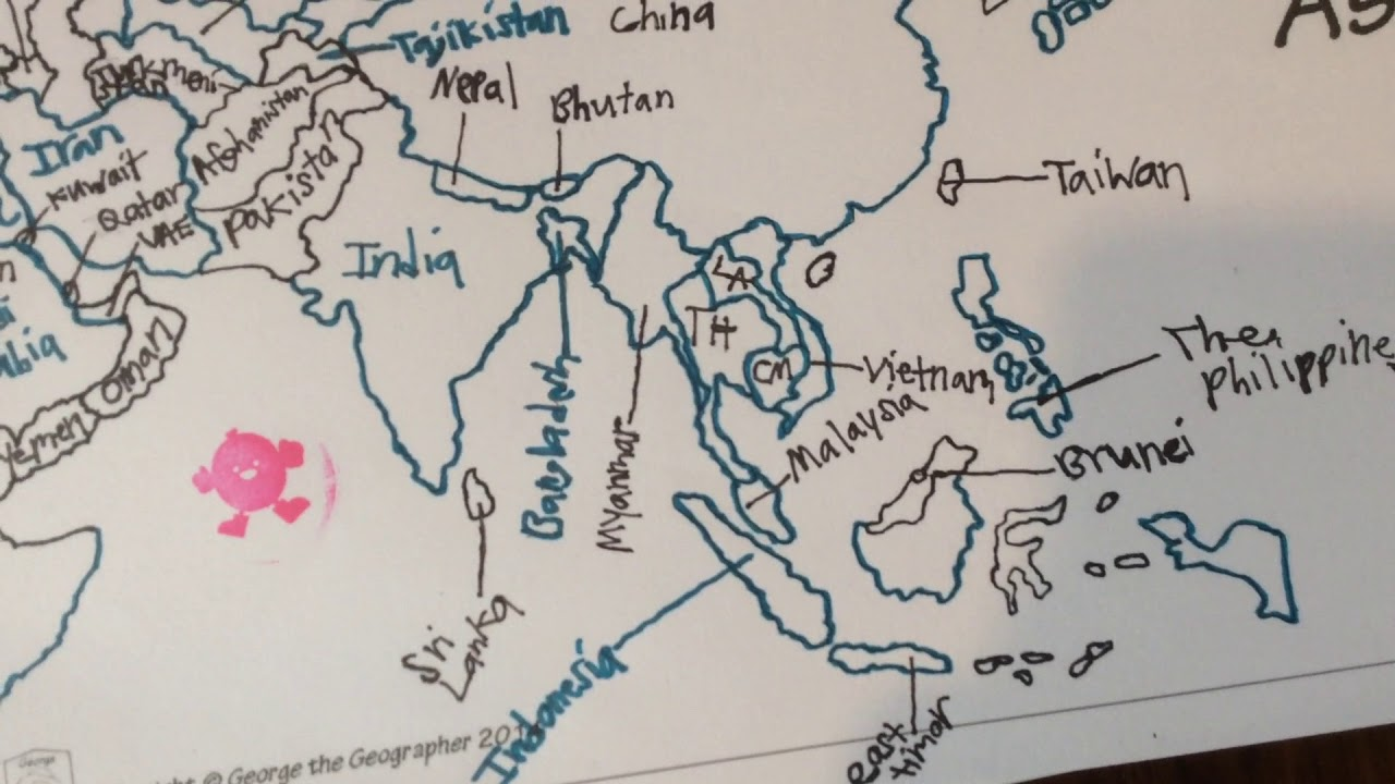 Outline Map of Asia - YouTube