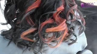 Яркое окрашивание - красные пряди