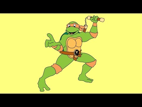 How to draw Michelangelo Teenage Mutant Ninja Turtles 1987 TV series step by step easy