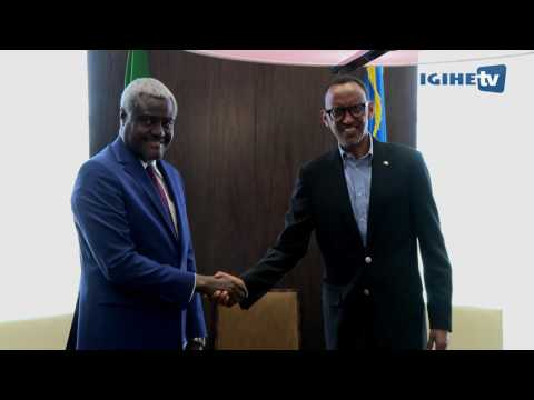 President Kagame meets with Moussa Faki, Chairperson of African Union Commission