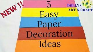 NEW !!! 5 Easy Paper DecorationsI DIY GaneshChaturthi, Diwali, Christmas Decoration Ideas with Paper