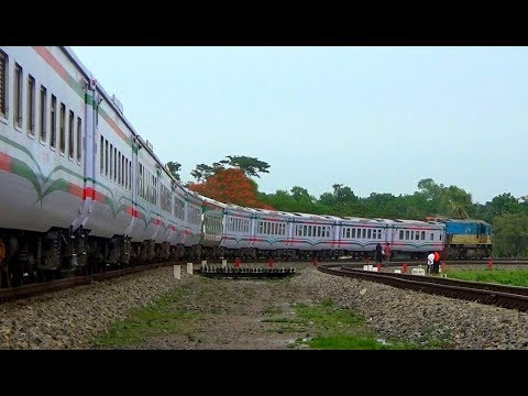 Bangladesh Railways most speedy & nonstop Train Subarno Express passing a massive rail curve