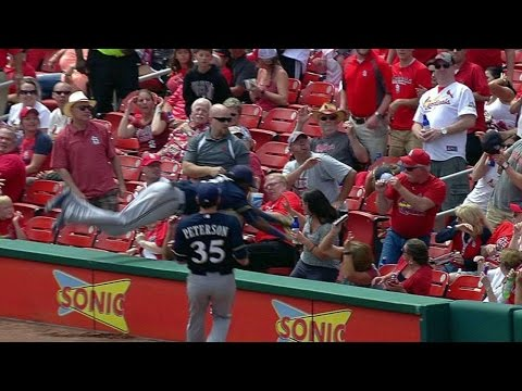 MIL@STL: H. Gomez exits game after flying into stands