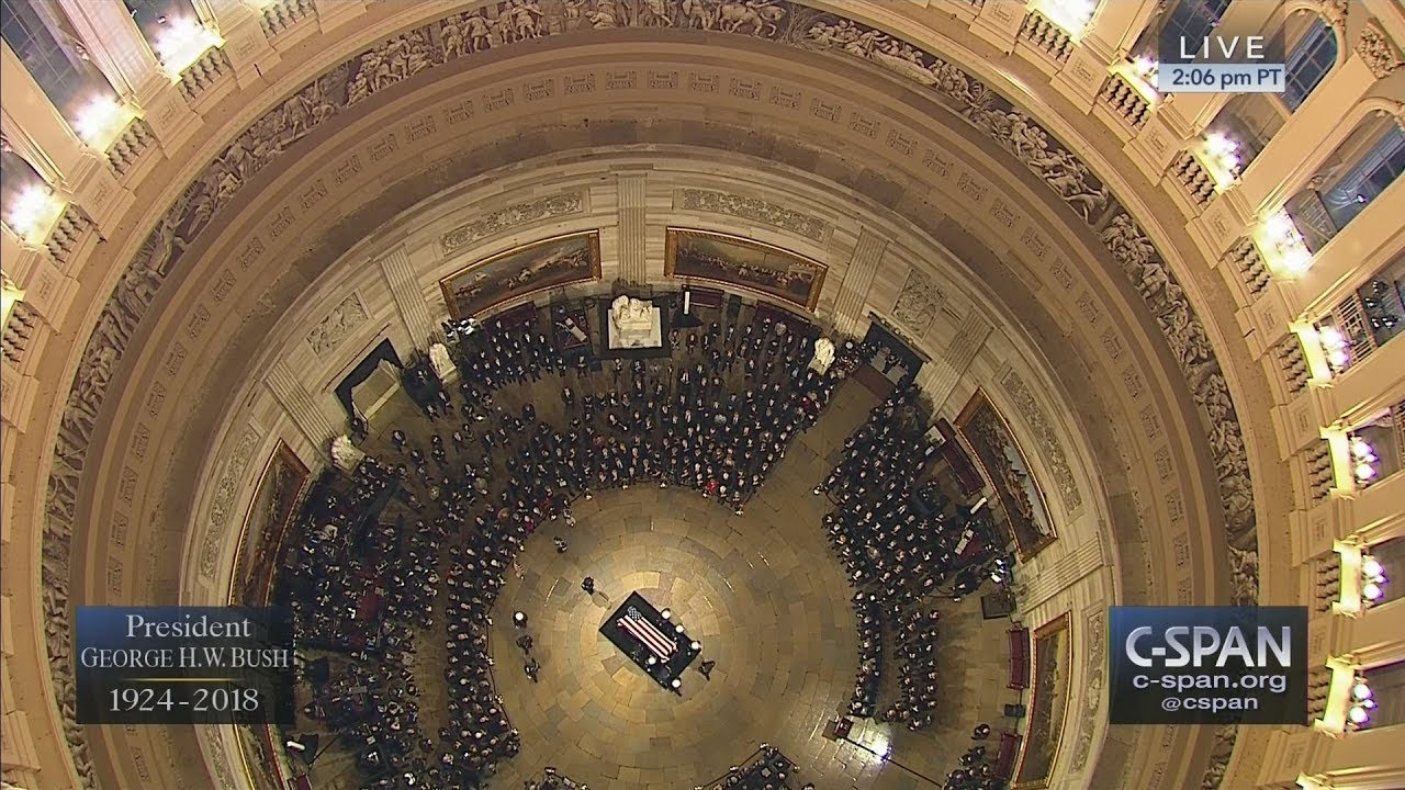 President George H.W. Bush's casket arrives in the U.S. Capitol Rotunda (C-SPAN)