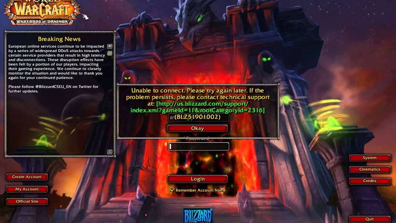 DDoS attack on Blizzard 2016 04 14 error BLZ51901002