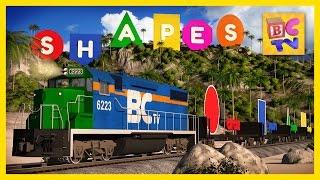 Die Form der Bahn Insel-Abenteuer-Lern-Formen, die Karikatur für Kinder