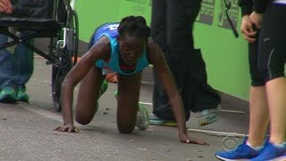 Marathoner hits the wall -- keeps going