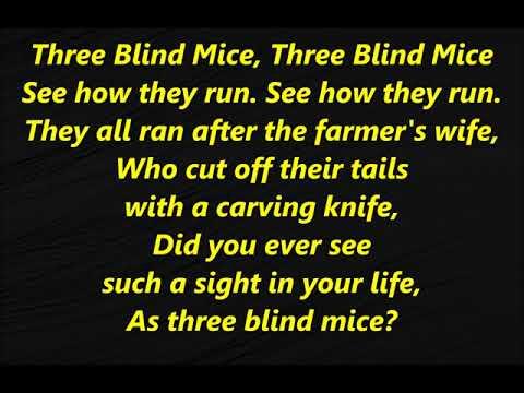 3 THREE BLIND MICE Lyrics Words Sing ALONG SONGS