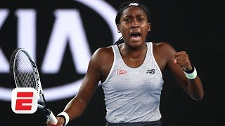 Coco Gauff reacts to beating