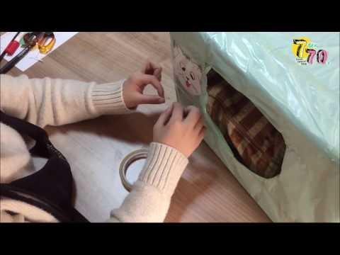 Evdeki malzemelerle kolay kedi evi yapımı