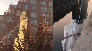video: Christopher Columbus statue torn down by protesters in Baltimore