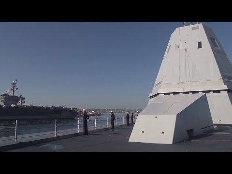 The footage shows how USS Zumwalt (DDG-1000) arrives at its new homeport, naval base of San Diego