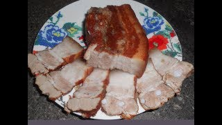 Свиная грудинка вареная в шелухе от лука  Сало вареное в луковой шелухе Boiled bacon in onion husks