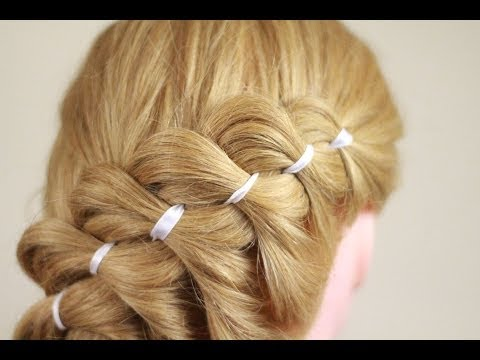Как заплести косу из 4 прядей с лентой