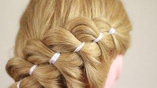Урок по плетению косы из 4 прядей (с лентой). 4 Strands braiding (with ribbon)