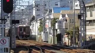 阪急7000系7022Fリニューアル車六甲駅高速通過※初詣HMあり