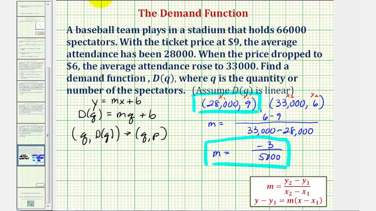 Ex Determine A Linear Demand Function Youtube