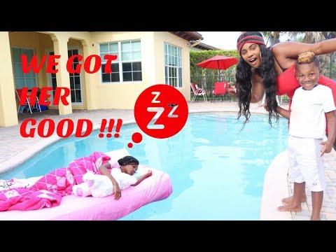 Yaya Wakes Up In The Swimming Pool Prank