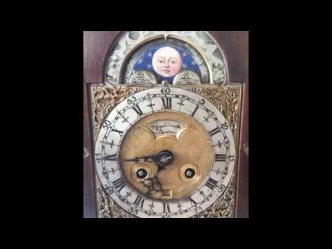 Rare Antique English Nut Wood Bracket Mantel Clock, Moon Phase & Date, Japy Fils 1844-49